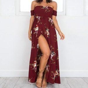 NEW Floral Off Shoulder Wrap Maxi Dress